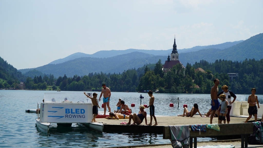 Bled lake and castle in the middle of the lake - a great place to swim