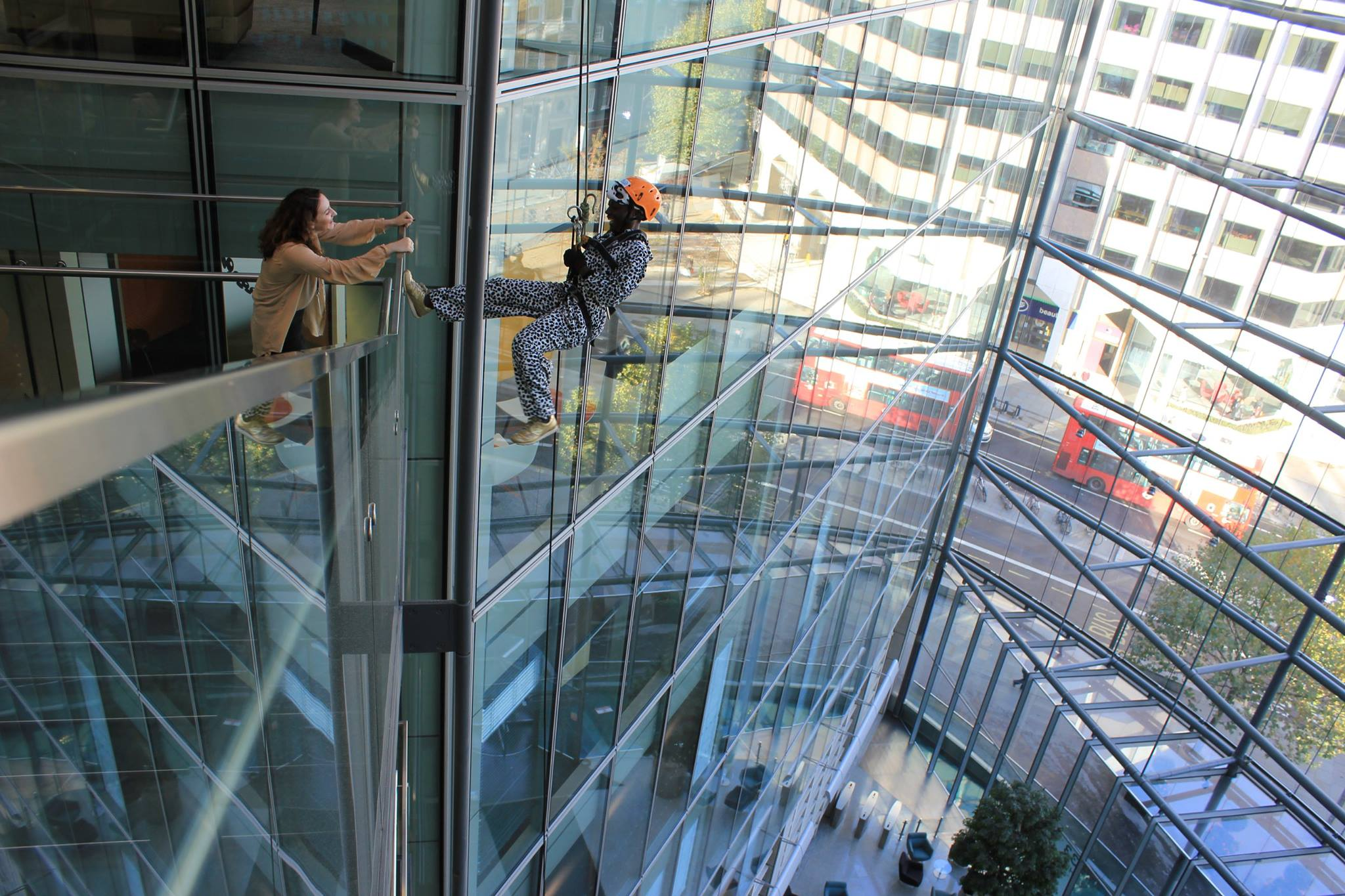 Abseiling indoors in London
