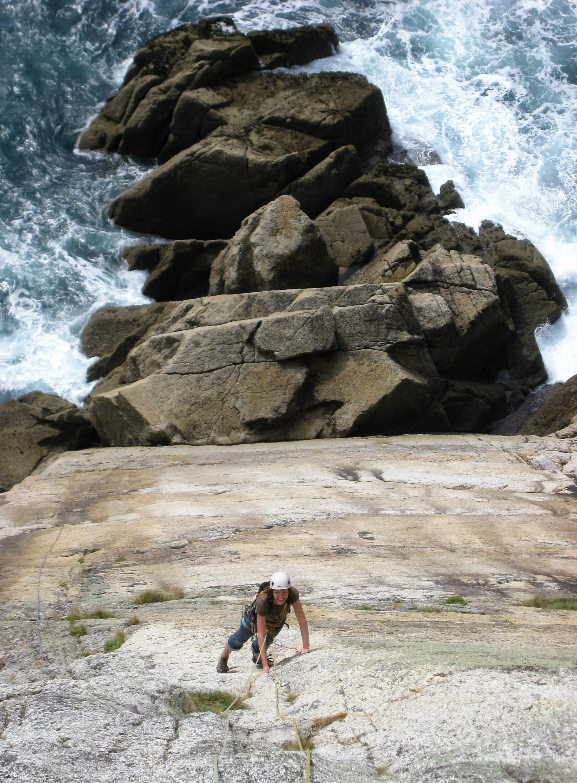Rock climbing on Lundy Island